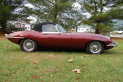 Jaguar XKE Roadster Series 1 5 Burgundy 1967 Passenger Side View