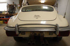 Jaguar XKE E Type Series 2 Coupe White 1970 Rear View