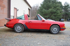 Porsche 911 T Targa Red 1971 Passenger Side View