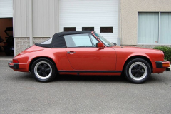 Porsche 911 SC Cab Convertible Kiln Red 1983 Passenger Side View