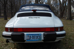Porsche 911 Cab White 1988 Rear View